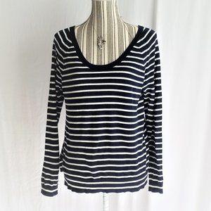 Gap Blue & White Striped Scoop Neck Sweater